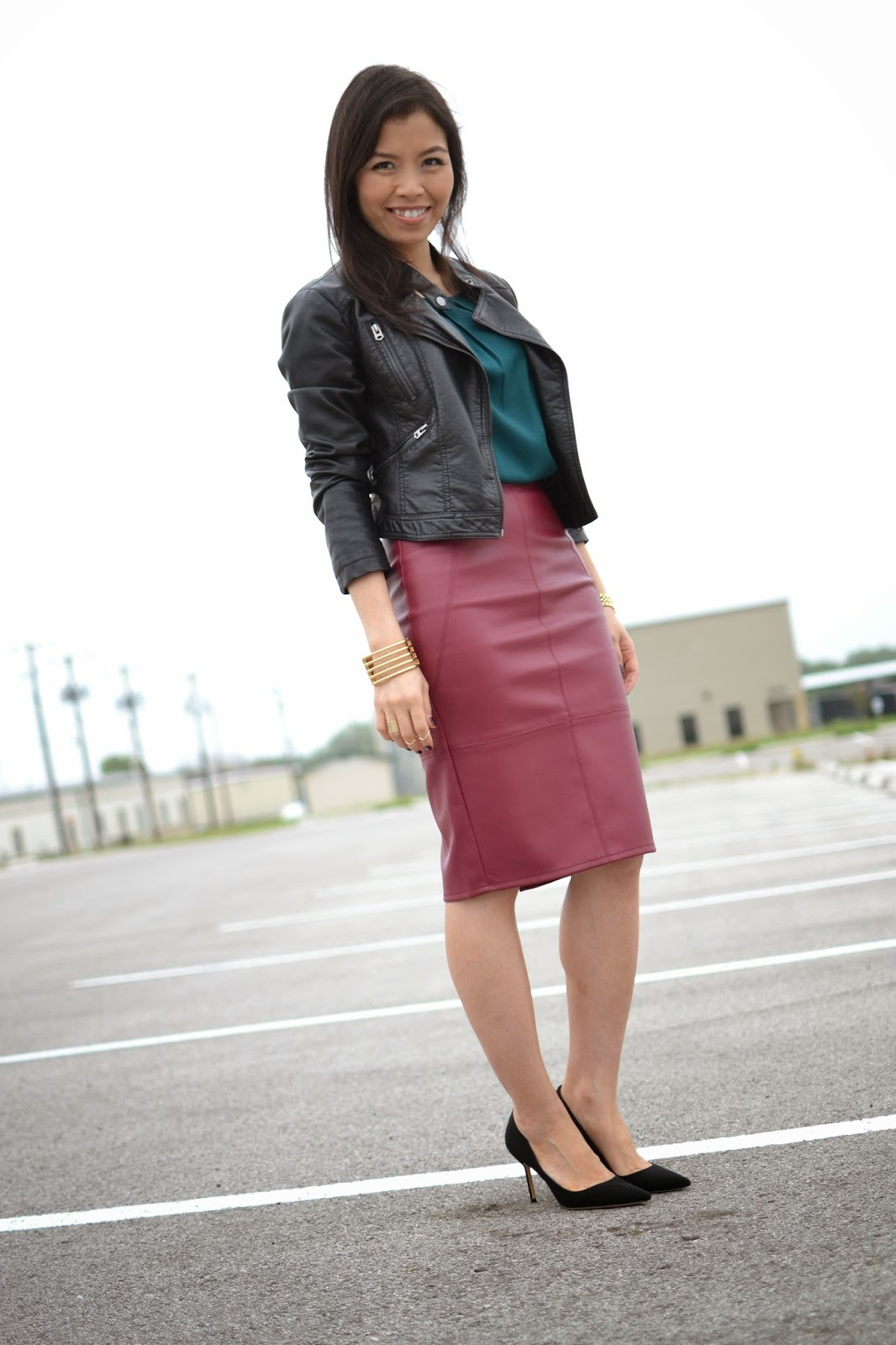Style and Cappuccino : Jewel Tones: Oxblood Faux Leather Skirt   ...