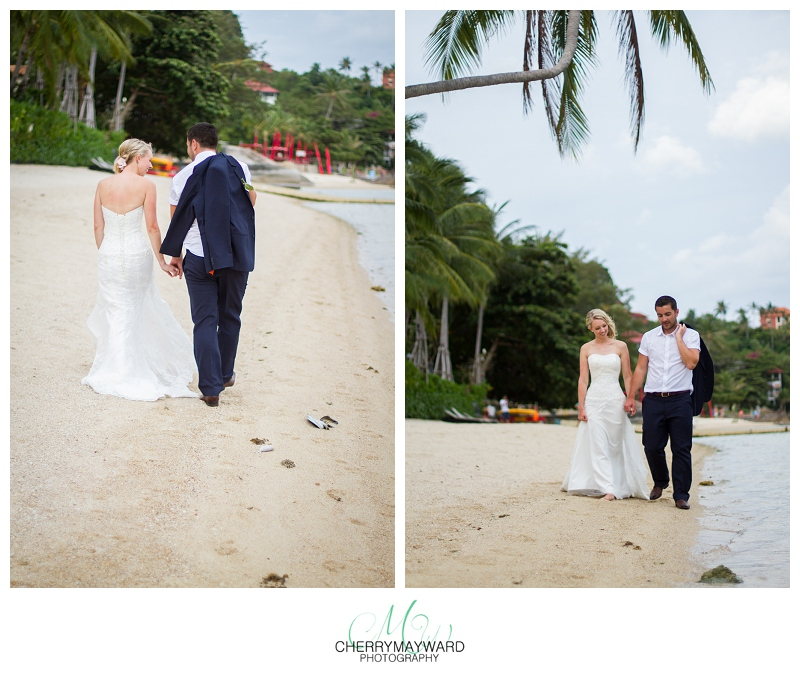 Bride and groom photos, walking on the beach, Beach Republic Wedding, Koh Samui Wedding photographer