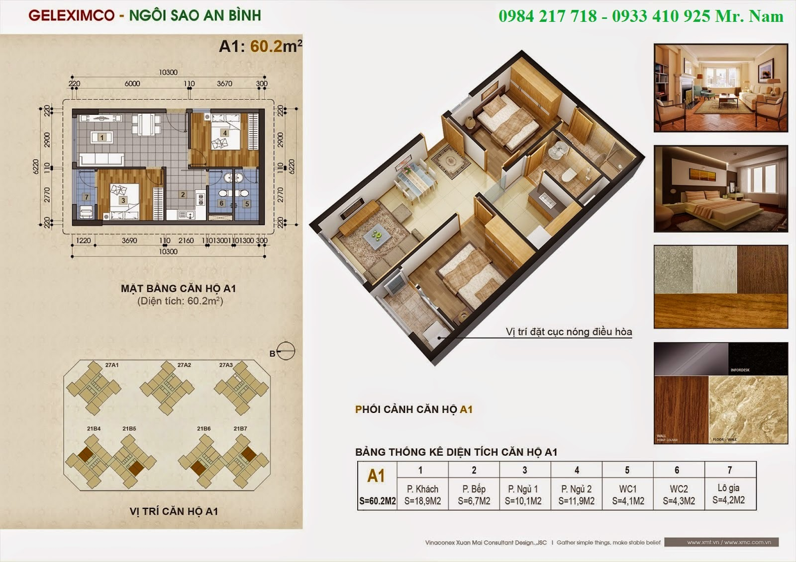 Thiết kế căn hộ A1 diện tích 60.2 m2 chung cư Green Stars