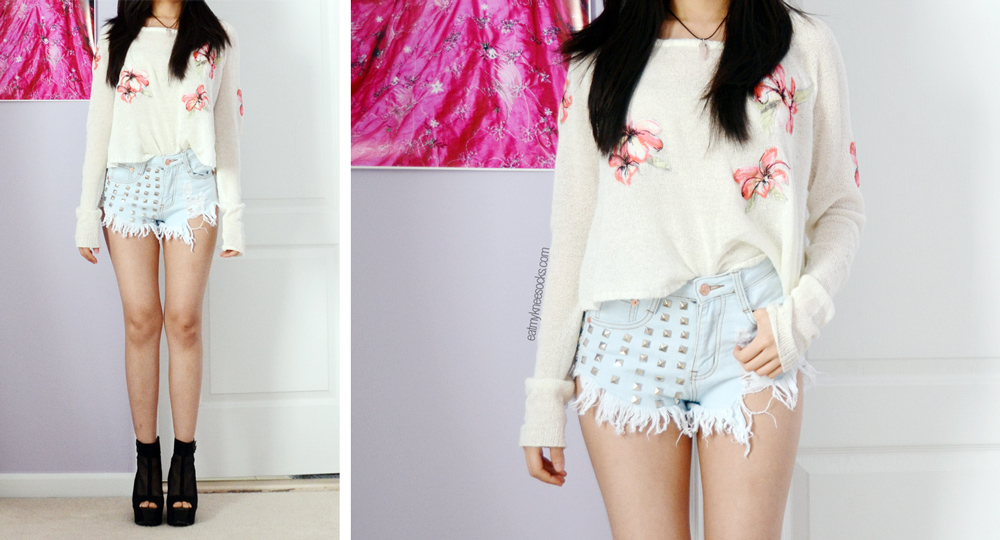 The JollyChic studded high-waisted destroyed denim shorts are perfect for the beach but run short.