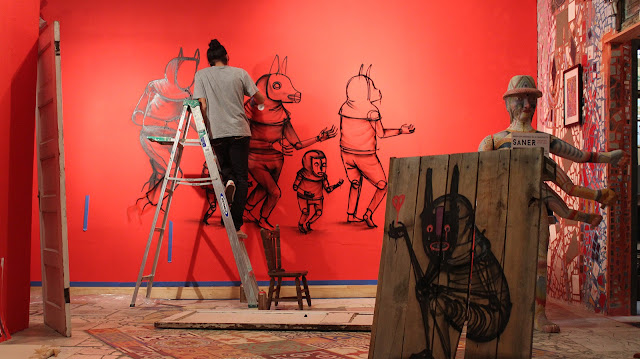 """Our friend, the internationally acclaimed Mexican street artist Edgar """"Saner"""" Flores has transformed Philadelphia's Magic Gardens' galleries into a mythological playground for his newly opened exhibition """"Fragments Of The Soul""""."""