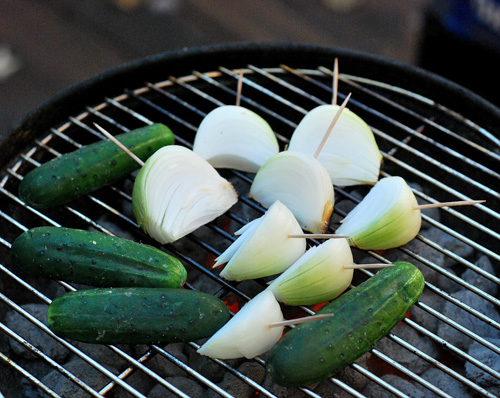 grilled sweet and spicy pickles, Kingsford, Weber