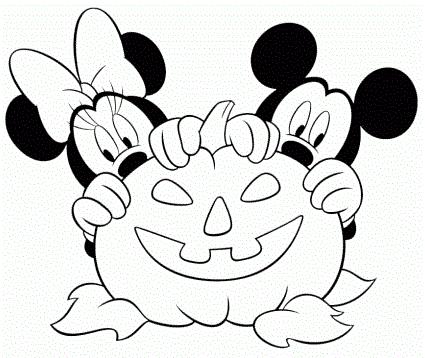 Dibujos para colorear: Mickey y Mini con calabaza de Halloween para ...