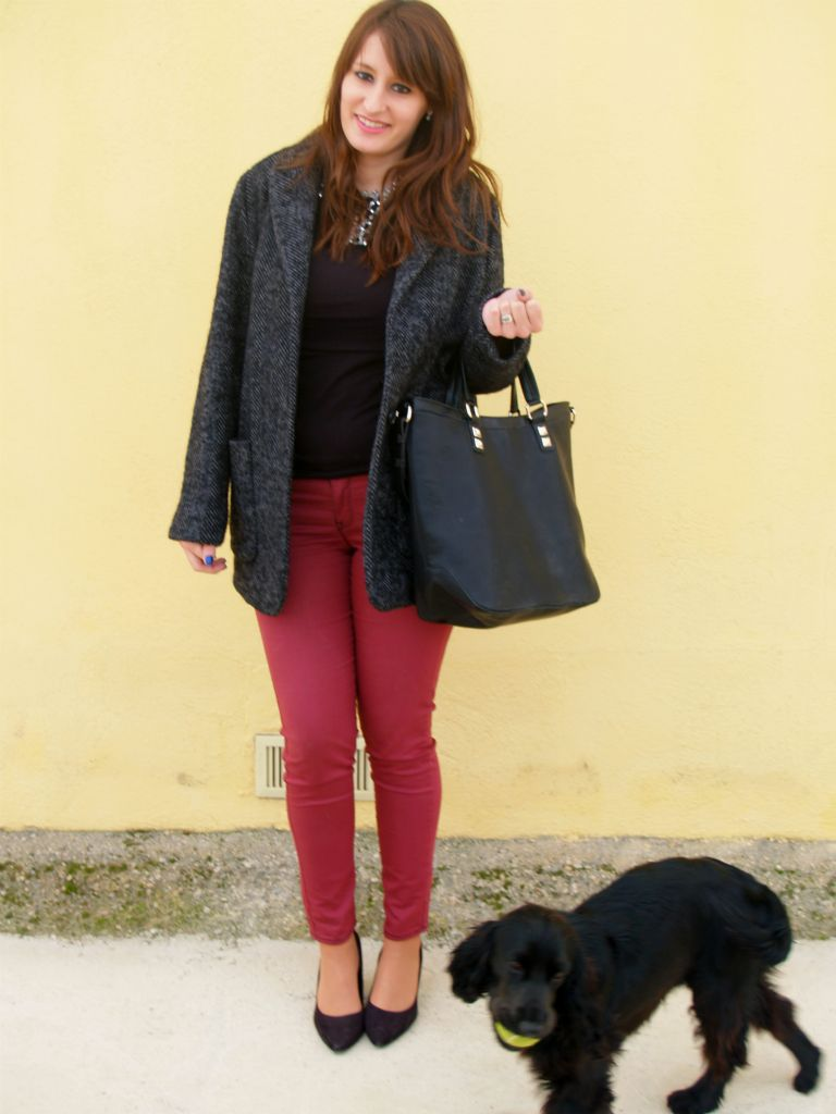 Oxblood,coat & bag
