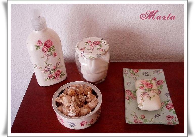 Las manualidades de marta conjunto para el ba o for Conjunto jabonera bano