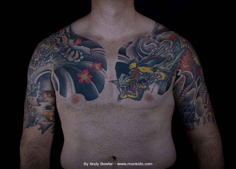Monki do tattoo studio japanese half sleeves and chest for Chest plate tattoos