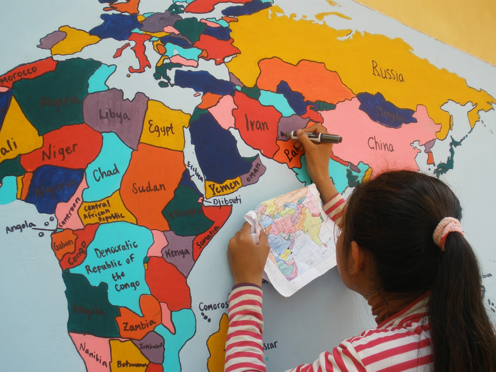 Wanderlust completed world map then we outlined and labeled the countries with black marker a few curious country names were beget such as irag and myannar but mostly the students gumiabroncs Choice Image