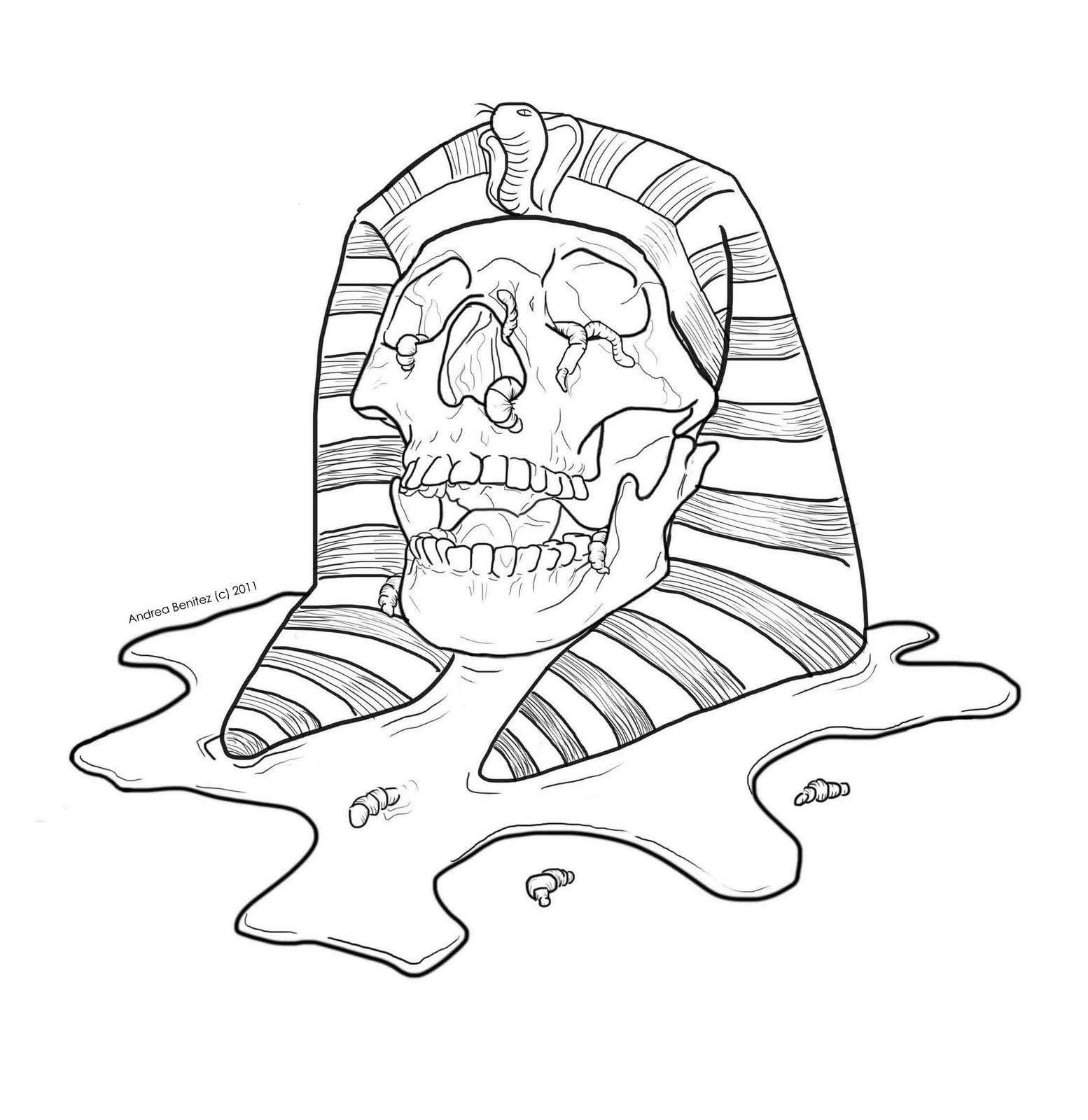line drawing mummy skull