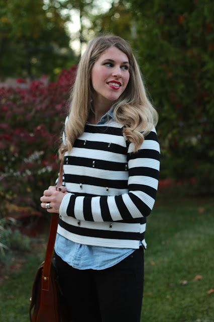 embellished striped sweater, chambray, black jeans, red heels