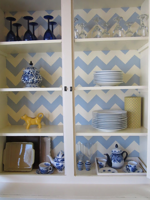 chevron china cabinet makeover