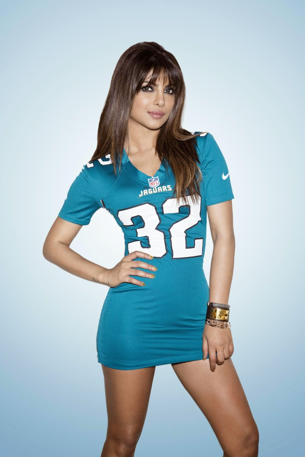 Priyanka Chopra in Blue NFL Jersey