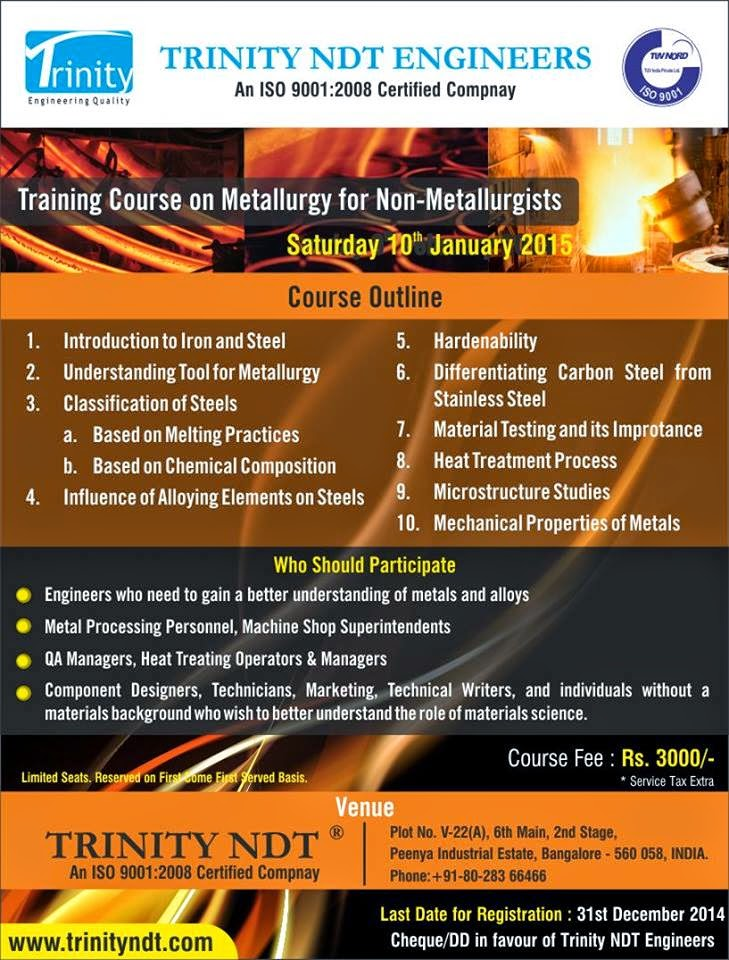 Metallurgy for Non-metallurgists Course on 10th Jan' 2015