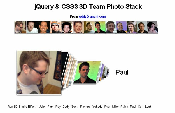 CSS3 3D Interactive Photo Stack