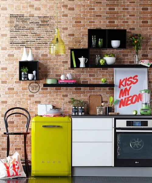 cozinha com parede de tijolinho