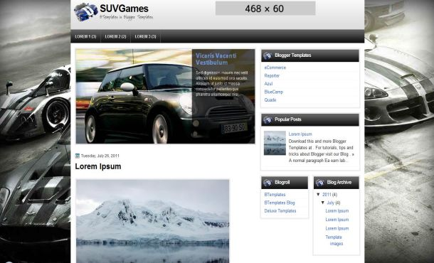 Free Blogger Jquery Cars Layout Template