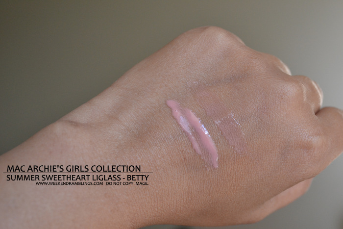 MAC Summer Sweetheart Lipglass Archies Girls Makeup Collection Indian Beauty Blog Darker Skin Review Swatches FOTD Ingredients Lipgloss