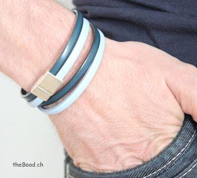 Lederarmband für Männer in Blau und Hellblau vintage Magnetverschluss