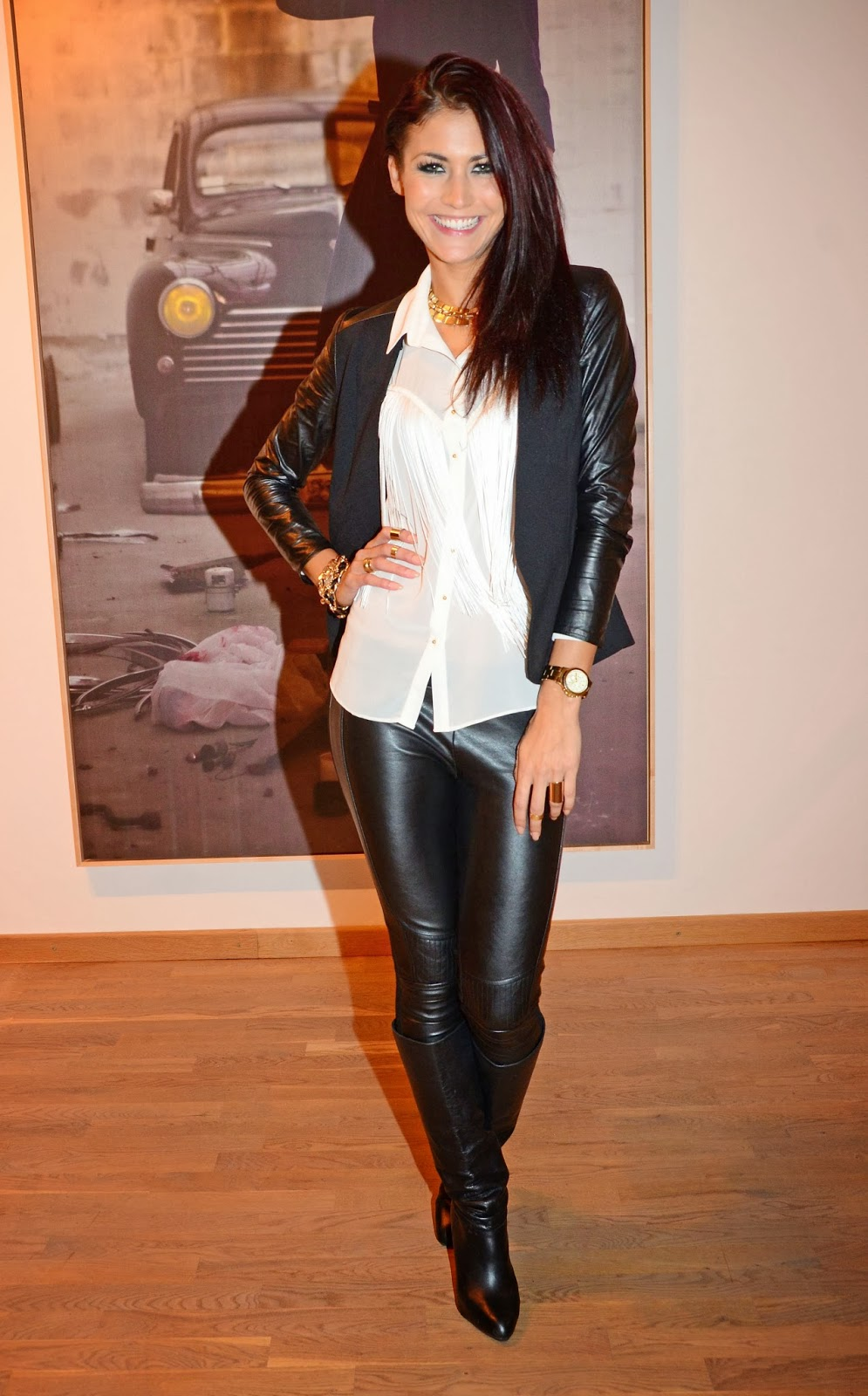 Popular Women In Tight Jeans And Boots Girls  Leather Pants And Jacket