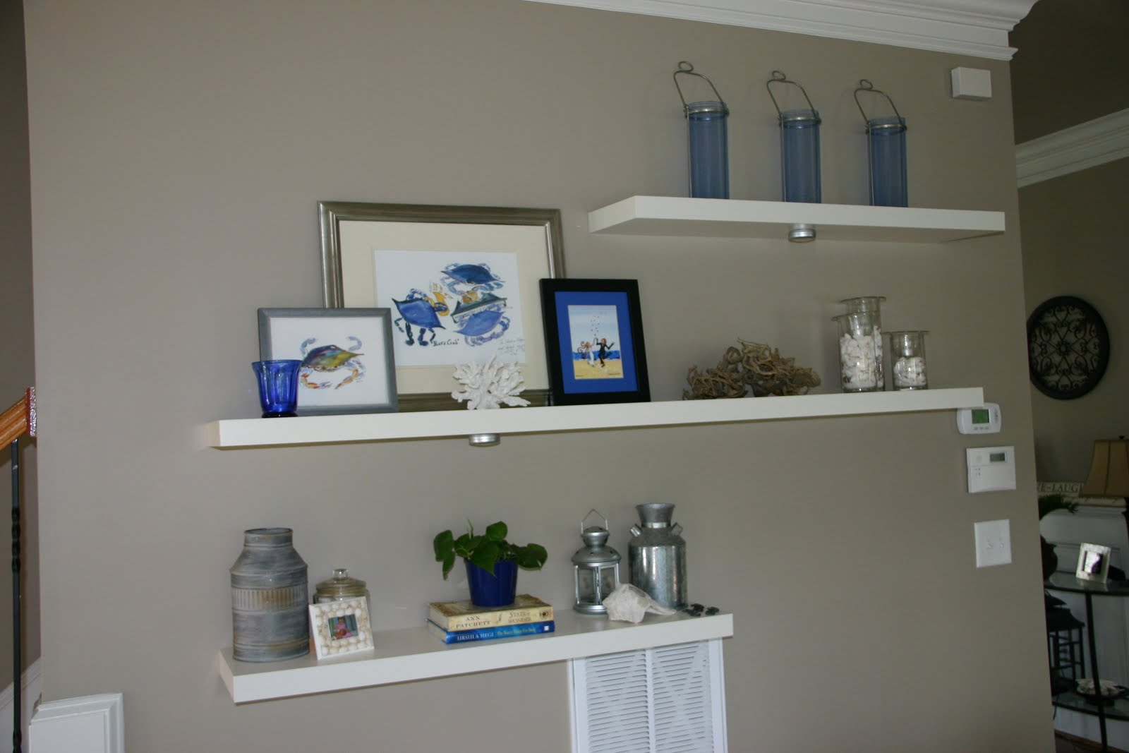 staggered floating shelves by tv for the home. Black Bedroom Furniture Sets. Home Design Ideas