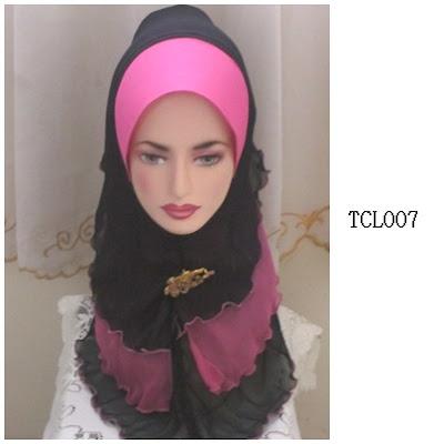 tudung chiffon 3 layer pink hitam