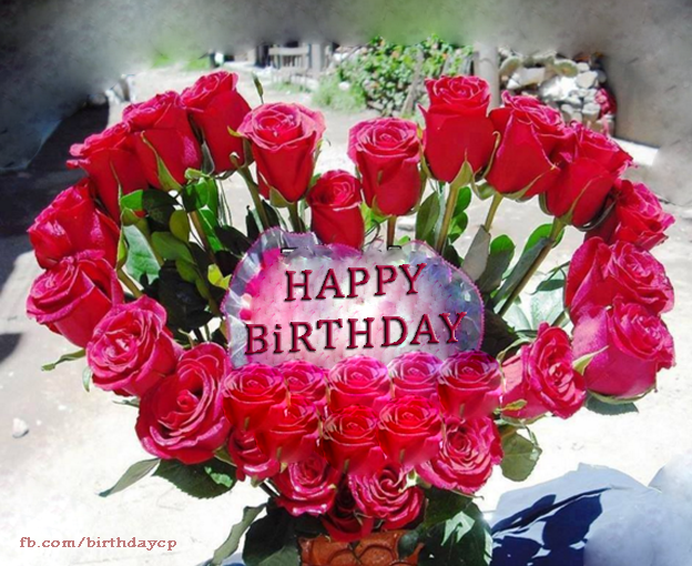 Heart Shaped Birthday Greeting Card With Roses F381 Happy Birthday Wishes With Roses