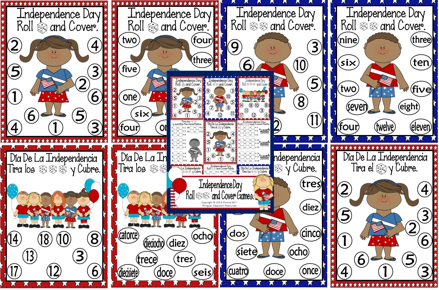 http://www.teacherspayteachers.com/Product/Independence-Day-Roll-and-Cover-Games-1195179