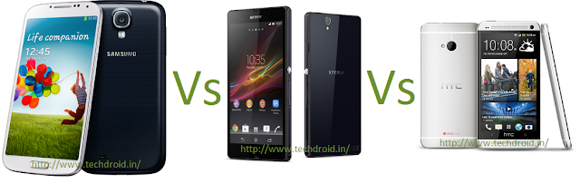 Samsung Galaxy S4 Vs Sony Xperia Z Vs HTC One