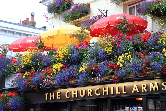 Pub britânico tem flores por toda fachada