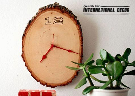 diy wall clock, cool wall clocks,creative wall clocks,tree wood wall clock