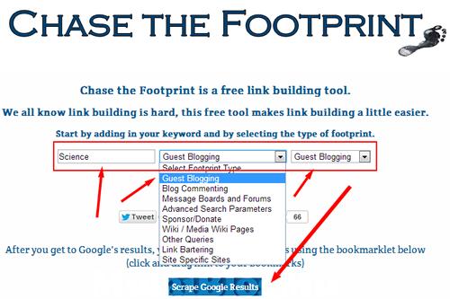 footprint menggunakan website tools