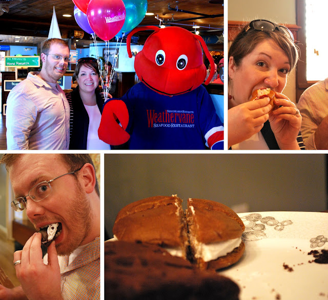 Four photos of East Coast food. B and Megs next to a lobster mascot. Megan eating her lobster roll. A maple whoopie pie cut into fourths. B eating a slice of a chocolate whoopie pie.