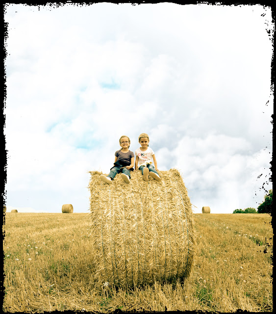 roll baler-straw-twins-girls