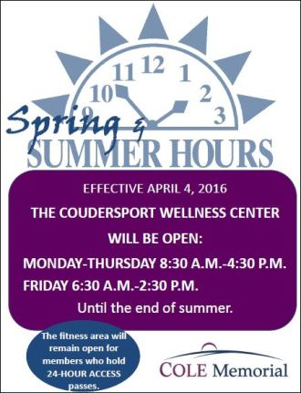 Spring & Summer Hours For Wellness Center