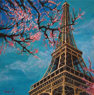 Ini lukisan menara eiffle ini gambar musim gugur di paris ini musim