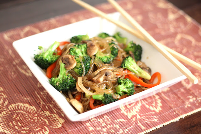 Jap Chae / Chop Chae with Broccoli and Mushrooms recipe by Barefeet In The Kitchen