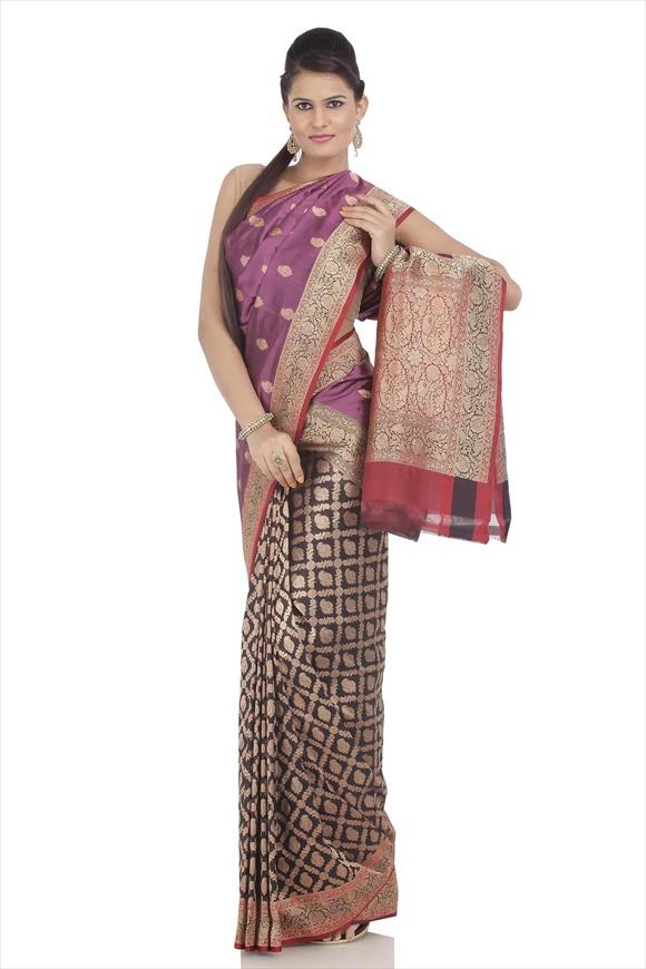 Deep Orchid Kattan Silk Banarasi Saree