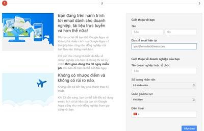 huong dan tao email theo ten mien tren google - buoc 1