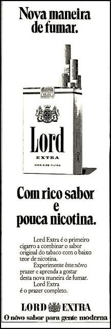 cigarros Lord, 1971. propaganda anos 70; história decada de 70; reclame anos 70; propaganda cigarros anos 70; Brazil in the 70s; Oswaldo Hernandez;