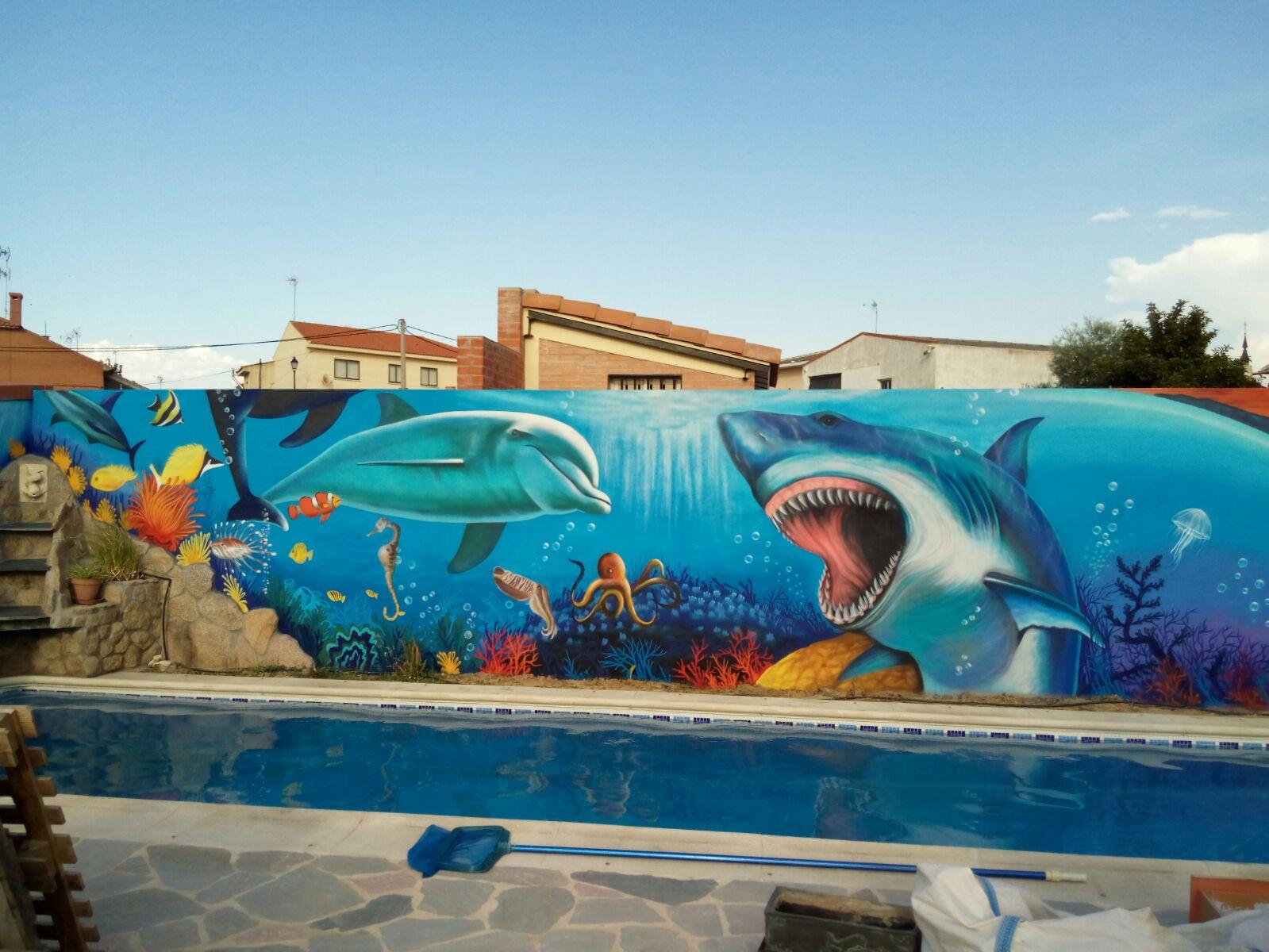 mural piscina, en Toledo. Spain.