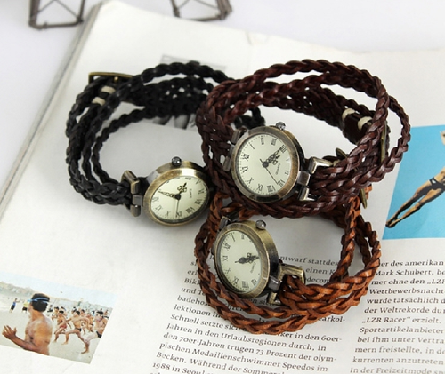 Wooven Leather Bracelet Watch