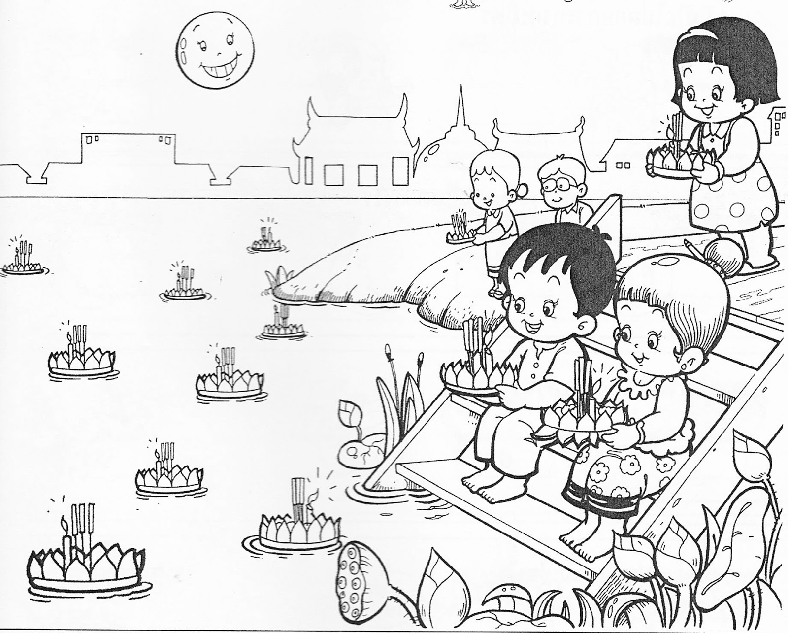 loy krathong coloring pages - photo#2