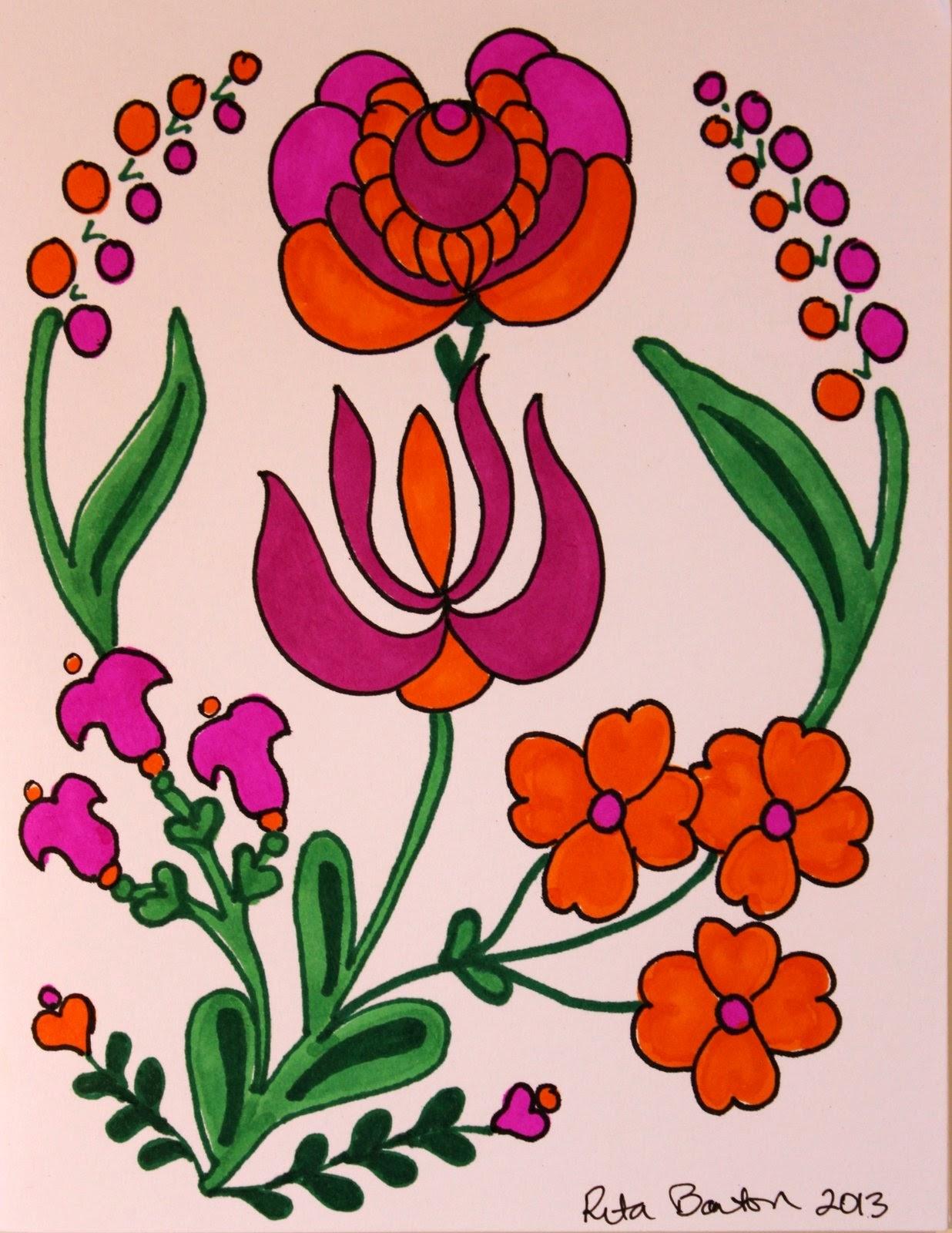 Rita Barton: Orange & Hot Pink for Summer of Color 2013