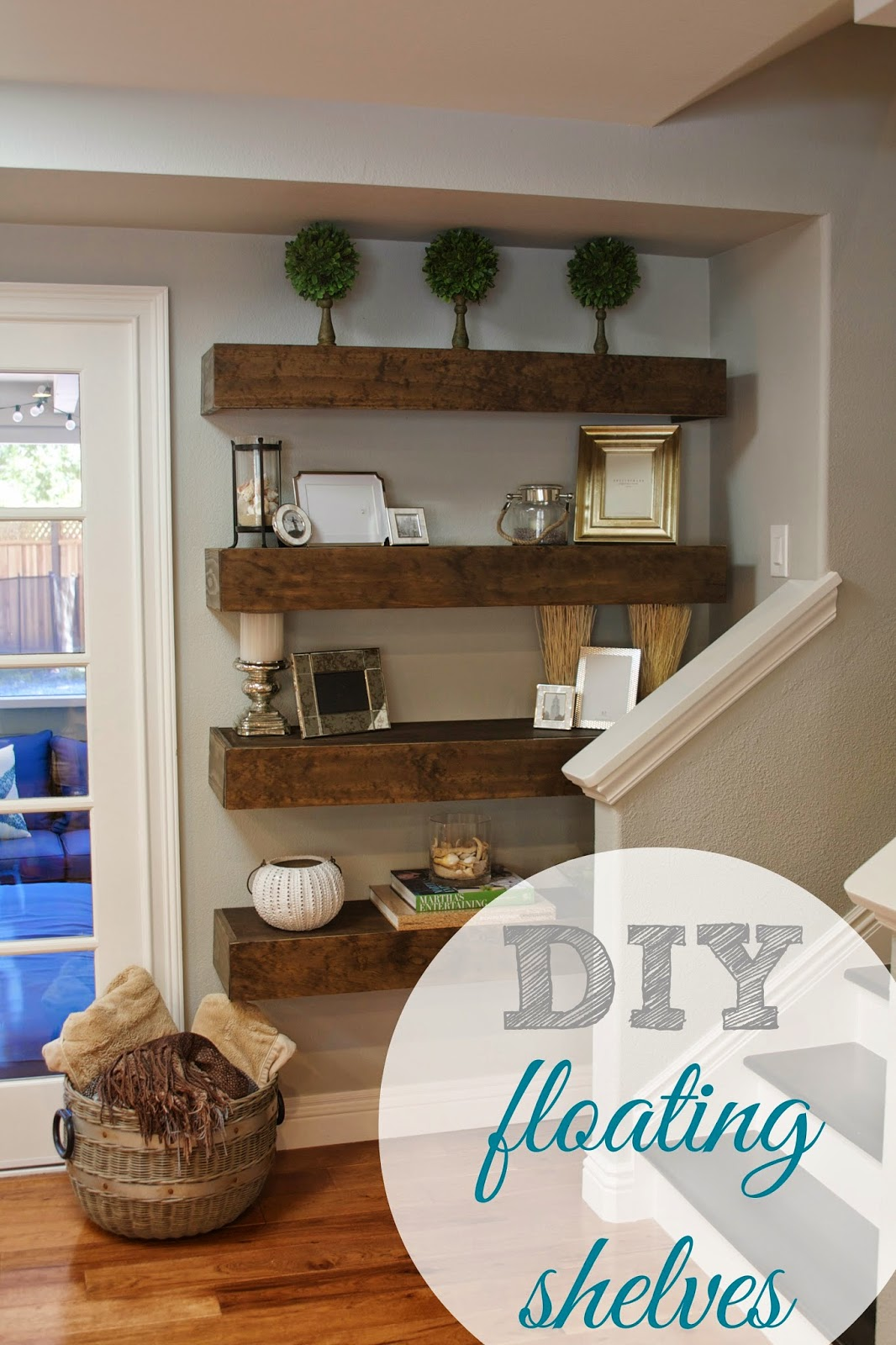 Simply organized simple diy floating shelves tutorial Decorative shelves ideas living room