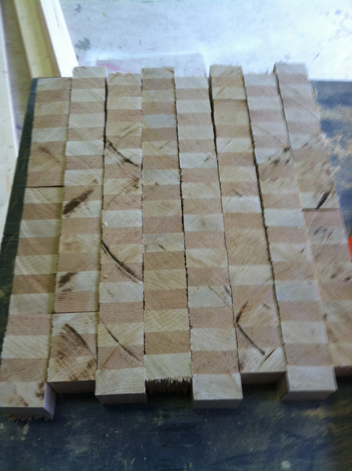 I Ended Up With 8 Strips, Then Turned Them To Their End Grain And Laid Them  In A Checkerboard Pattern.