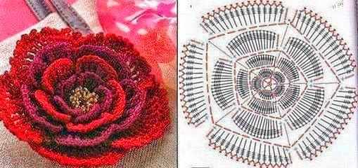 Flor al crochet - con diagrama