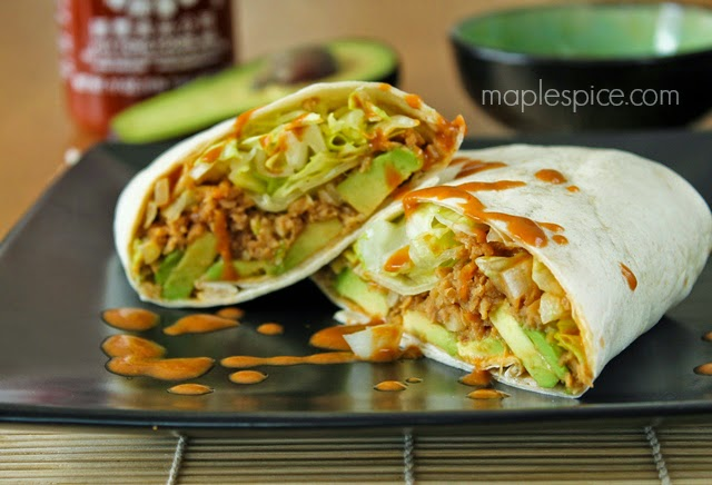 Asian Style Vegan Soy Mince and Avocado Wrap with Spicy Peanut Sauce