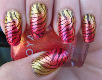 Pink, orange, and yellow gradient with zebra stripes