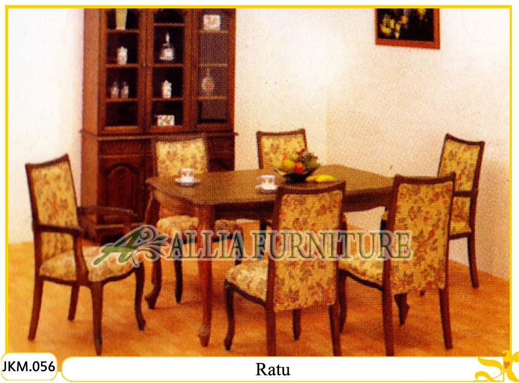 Kursi / Meja Makan Kayu Jati Ukir Ratu - Allia Furniture