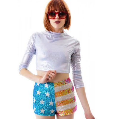 sequins american flag shorts