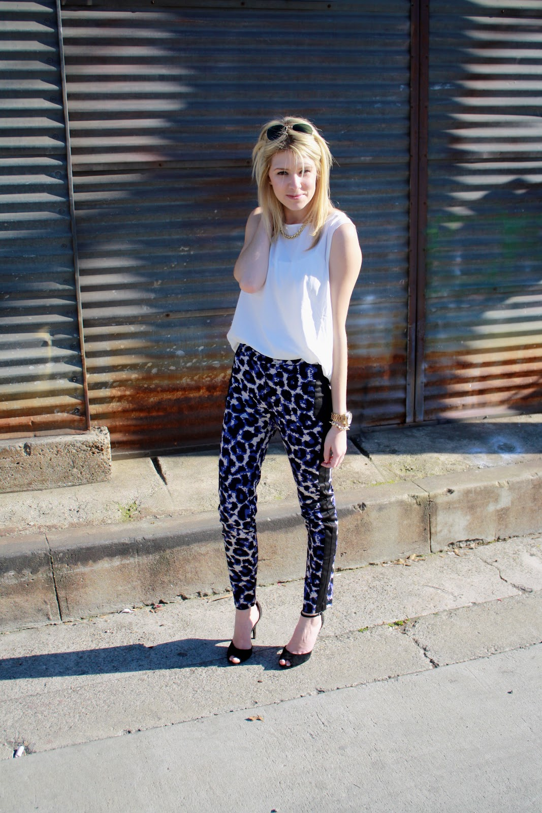 purple leopard print pants